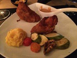 Chicken snitzel. Ok chicken, not good sauce or mash.