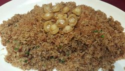 Shanghainese fried rice with dried scallops, Lima bean sauce and BB abalone