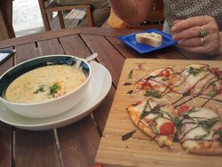 fish soup and flatbread pizza
