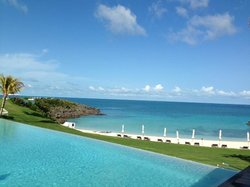 View of the infinity pool and one of the coves