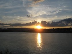 Sunset over river outside