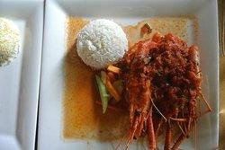 Stewed Camaron Mauritian style with rice