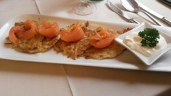Potato pancakes with salomon delicious and much for a starter