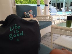 ... in a cabana by the pool at The Beachside Village Resort in Lauderdale-By-The-Sea, FL!  (Jun