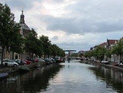 Street level view:The green draw bridge