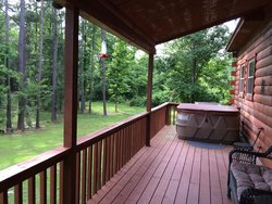 Our long porch with hot tub