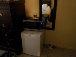 fridge and microwave in the room...