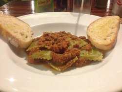 Homemade ravioli with ragu