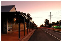 Evening sunset outside Grasslands, looking up the Tambo main street