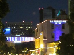 View of hotel and Little Italy sign