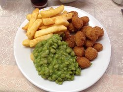 Scampi, chips and mushy peas. Yum