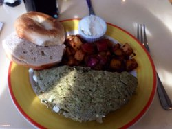 The Seussian pesto and goat cheese omelette.