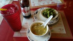 Best egg flower soup and edamame- a fresh end to a hot 105 degree journey !