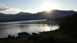 View from Room 1 at Loch Maree Hotel - beautiful sunrise