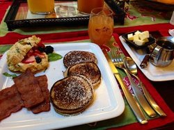requested pancakes, turkey bacon, & biscuit w/ fruit - all made from scratch & super flavorful!
