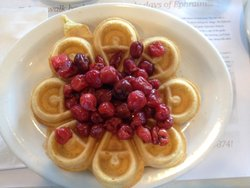Air Mail Belgian waffle with cherries.  Skipped whipped cream :)