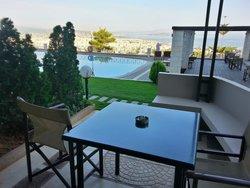 Poolside ground level room balcony