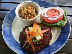 Veggie burger with a side of rice