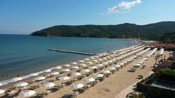 panorama della spiaggia dalla terrazza colazione