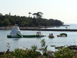 Inflatable slides in the sea
