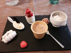 The selection of desserts with an espresso. Wonderful!
