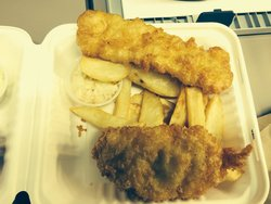 Cod fish and fries, large order