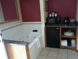 Microwave, fridge and Whirlpool in room, bathroom separate