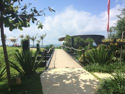 Entry to the pool beach and bar