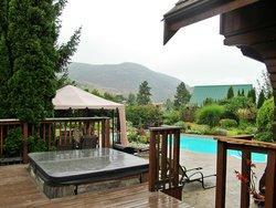 Hot tub and pool area