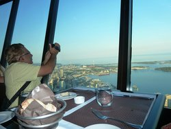 CN Tower view outside from 360 degrees restaurant