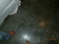 marble floor very rough.. should provide disposable shoe (only suggestion)..