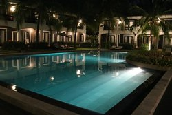 Another view of pool area in the evening