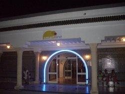 front at hotel at night