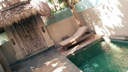 Pool from outside, nice place to relax in private