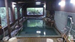 内湯。右側壁の向こうが、同じ大きさの半露天浴槽。