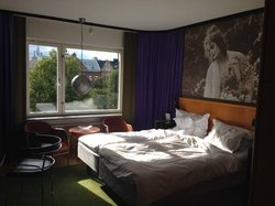 Afternoon sun streams across local park into room at from (506)