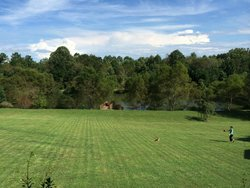 Center view from our cabin over looking pond..