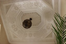 Decorative ceiling area above ground floor eating/ relaxing area