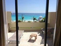 Balcony with lounge chairs