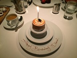 Birthday diners receive a special dessert.