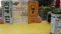 License plate-bordered menu