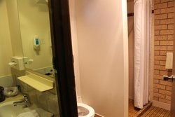 Sink and mirror on left, bathroom shower on right