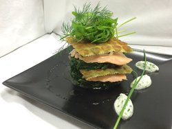 Le saumon â la florentine en lasagne de Ravioles