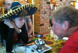 Blowing out the candle, Feliz cumpleanos, poppa y Nicole!