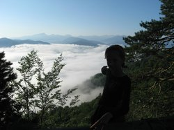 Утро, внизу облака