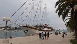 Schooner alongside Trogir quayside