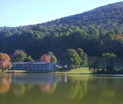 View of lodge across from Lake Abbott