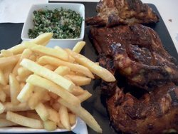 Whole chicken lebanese, fries and tabbouleh