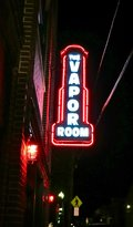 Neon sign at Vapor Room