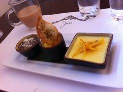 Creme Brulee trio-chocolate & ginger, green tea and orange